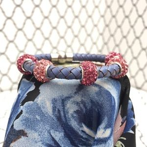 Jewelry - 🆕 5 Crystal Bead & Blue Braided Leather Bracelet